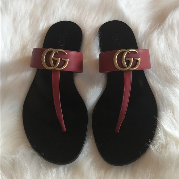8c70cc32a1b6 Gucci Shoes - Authentic Gucci Marmont Sandals Hibiscus Red